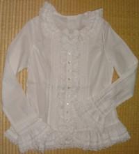 白のフランスレース綿ローンブラウス