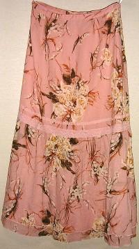 バラとスズランプリントスカート(ピンク)