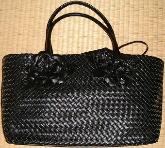 モチーフ付きメッシュバッグ(黒)