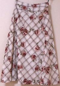 フラワーonチェックプリントAラインスカート