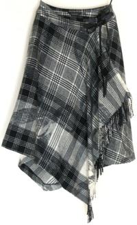 リボン&チェックウールスカート