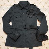 コサージュ付きサファリジャケット(黒)