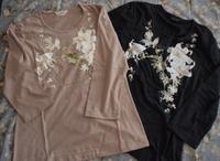 カサブランカプリント七分袖Tシャツ(ベージュ・黒)