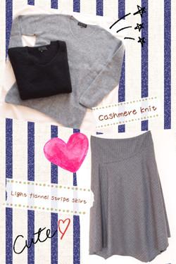 UNTITLEDカシミアセーターとライトフラノストライプスカート