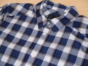 UNTITLED青のチェックシャツ