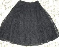 水玉プリントとレースのスカート(黒)