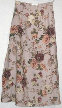 ヴィンテージローズプリントAラインスカート(ピンク)