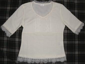 モヘアかぎ針編みレース付き五分袖カットソー(オフ白)
