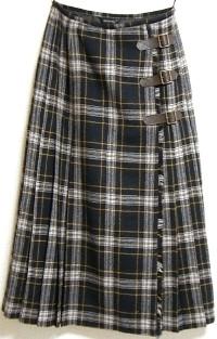チェックキルトスカート(焦げ茶×紺)