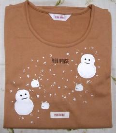 雪だるまプリントTシャツ(オレンジ)