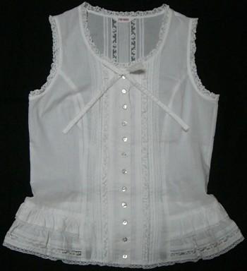 綿ローンノースリーブブラウス(白)