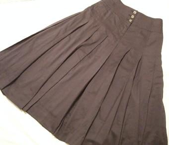 綿ローンプリーツスカート(焦げ茶)