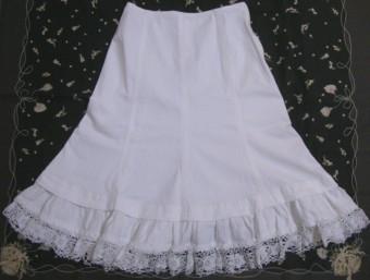裾レースデニムスカート(白)