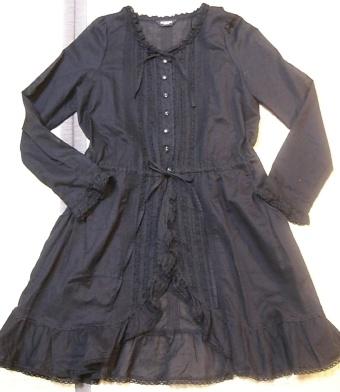 綿ローンロングブラウス(黒)