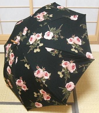 バラ柄傘(黒)