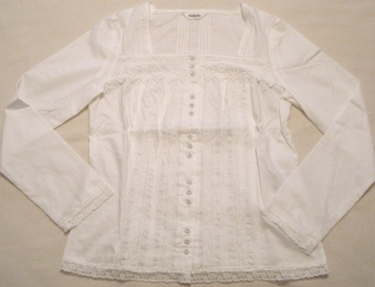 筒袖綿ローンブラウス(白)