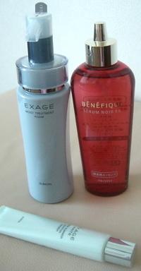 洗顔フォーム、メークアップベース、ヘアエッセンス