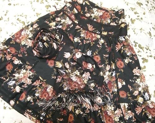 ブラウニッシュブーケプリントスカート(黒)、ブラウニッシュブーケプリントストール